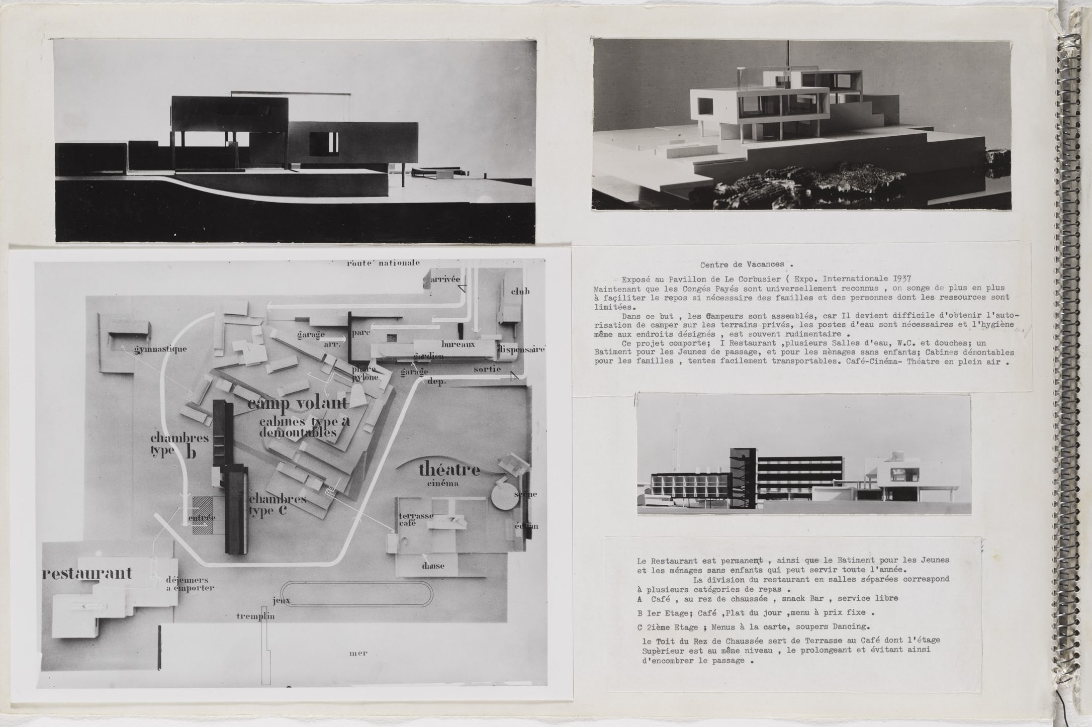 Page from Gray's portfolio of pasted-in photographs and typewritten notes.