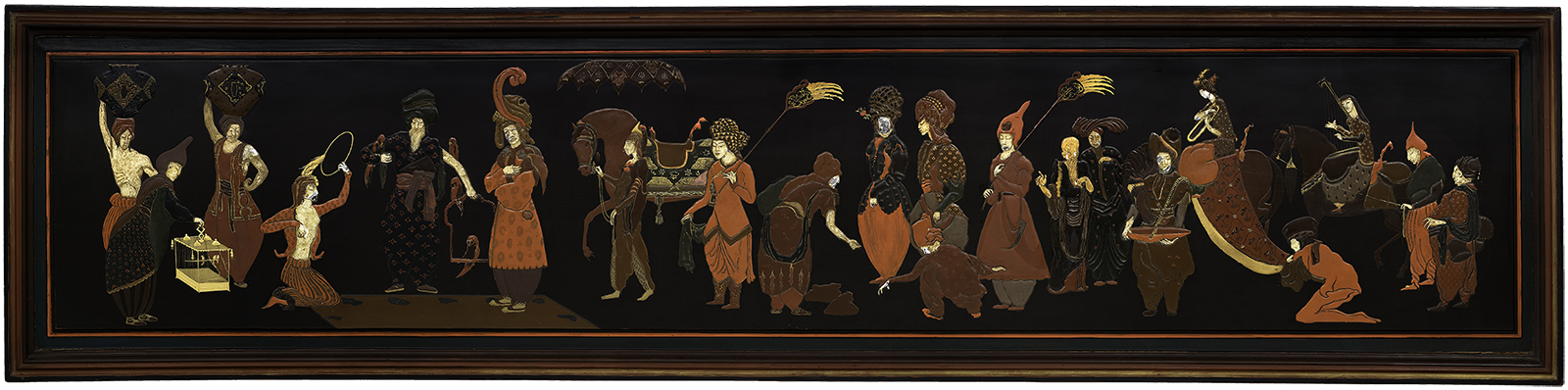 Image of a long lacquered panel featuring orientalized figures in shades of red, yellow, and brown.