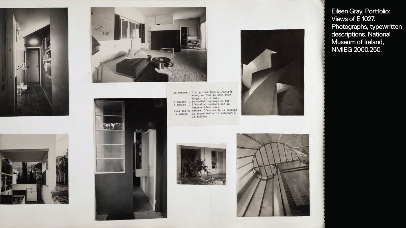 Portfolio page showing 7 images of E 1027: summer kitchen, living room, entrance, exterior, and stairwells.