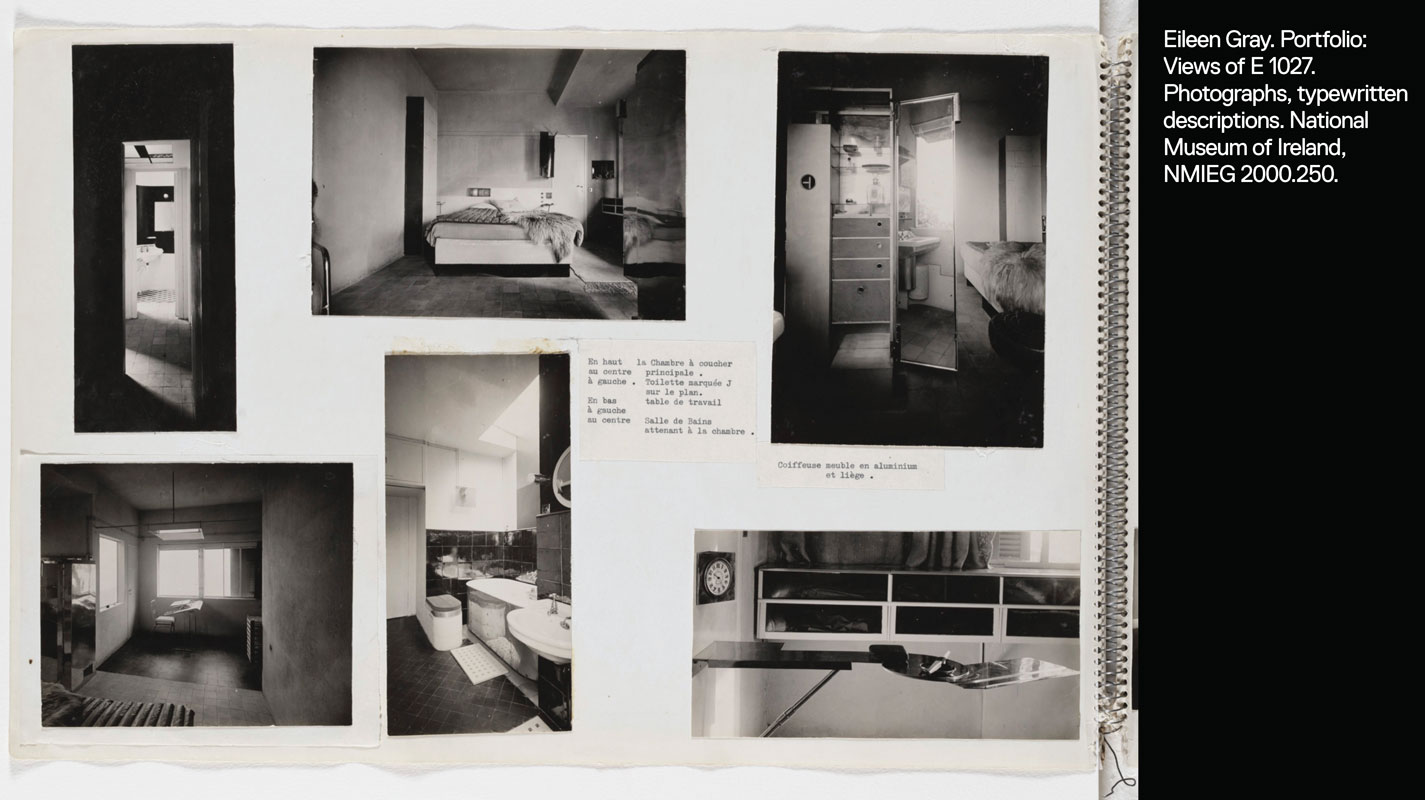 Portfolio page showing six views of E 1027 interior: bedroom, mirrored coiffeuse, bathroom, office, and hallway.