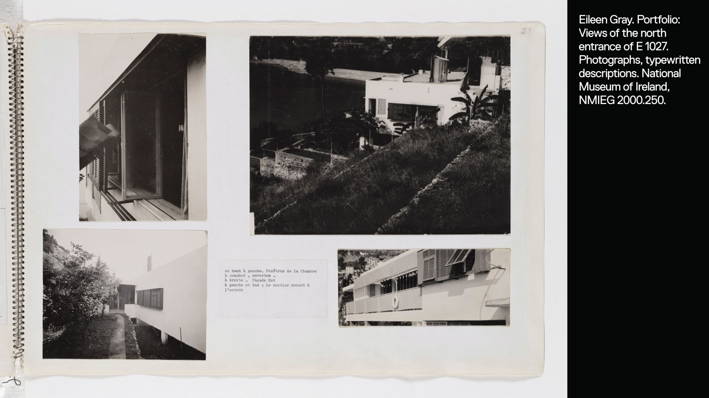 Portfolio page showing 4 views of the exterior of E 1027: entrance, sliding windows, terrace, and view from the north.