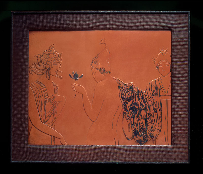 Image of a framed red lacquer panel depicting three line drawn figures.